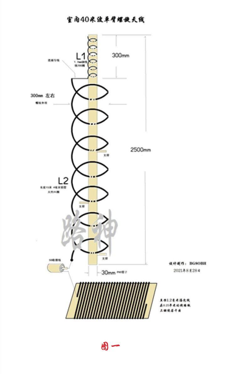 简易阳台用短波10-40米段单臂螺旋天线制作-济南黄河业余无线电439.110